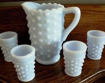 vintage Fenton art glass - HOBNAIL Childs WATER SET Blue solid MilkGLass ...