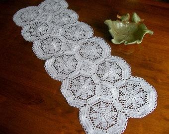 Crochet Table Runner, White Lace Doily Centerpiece, Table Mat