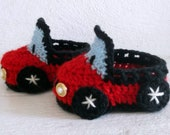 Baby Boy CROCHET PATTERN Booties Car (b1), 4 sizes newborn to 12 month.(or toddler size: 1-3years) (PDF)