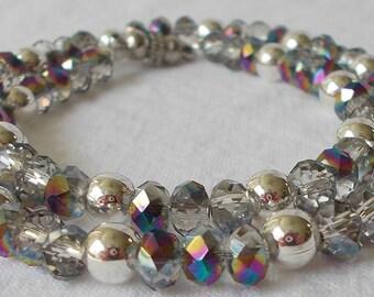 Sale Wrap Bracelet Vitral Faceted Glass Bead With Silver Bead Wrap Bracelet