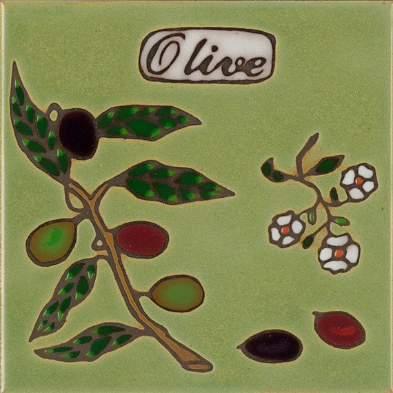 Hand Painted Ceramic Tile Olive Branch Original Art