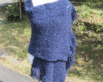 Blue Wrap Handmade, Hand Knit Shawl in Boucle with  Fringe