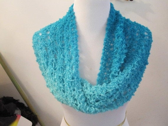 Ariel Lace Turquoise Blue Handknit Scarves, Knit Shrug, Cowl, Infinity Scarf, Circle Scarf, Snood, Capelet, Moebius