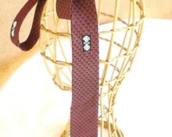 1960s Orig. Skinny men neck tie  Burgandy red / black tones  Mad Men style /// Free US Shipping ///