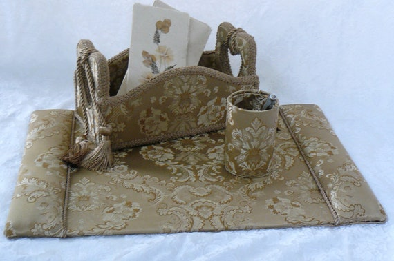Desk Set with Desk Blotter, Mail Caddy and Pencil Cup Covered In Beautful Gold  Damask
