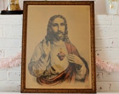 RESERVED...Reinthal & Newman Religious Print...The Sacred Heart of Jesus...Vintage...Framed...Religious Icon...Early 1900s