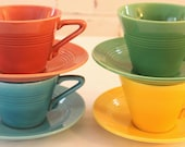 Four Sets of Harlequin Cups and Saucers...Homer Laughlin China Co...Turquoise, Pink, Green & Yellow...Made in USA...Vintage...Art Deco