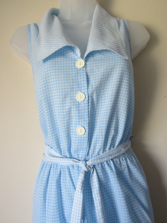Breezy Blue and White Cotton Dress, Size L
