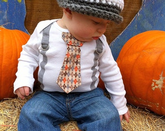Get The Set - Orange and Grey Tie Bodysuit or Shirt with Suspenders and Crocheted Hat - pick your own