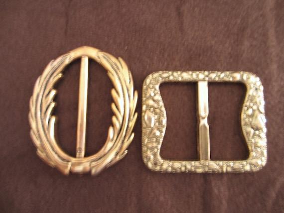 2 Vintage Oval and Rectangular Shape Bronze Copper Tone Color Plastic Belt  Bag Shoe Buckles Slides