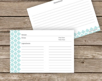 Printable Recipe Cards - 4x6