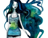 Aquarius Zodiac Signs Print Illustration Watercolor Blue Sea