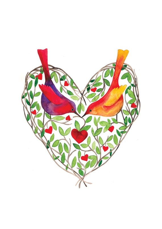 Love Birds Watercolor Illustration Print Leaves Heart Green Brown Multicolored