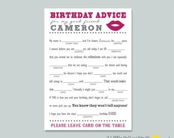 Birthday Advice Card - Mad Libs (LIPS)