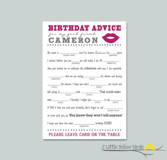 Birthday Advice Card Mad Libs LIPS