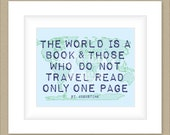 8x10 World Graphic Print, Travel Map Art St Augustine Quote Custom Colors