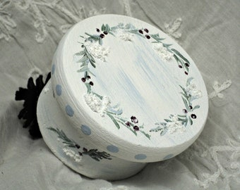Winter Engagement  Ring Jewelry Gift Box  Small Favor Spruce Berries Snow Detail Personalized Sentiment Handpainted
