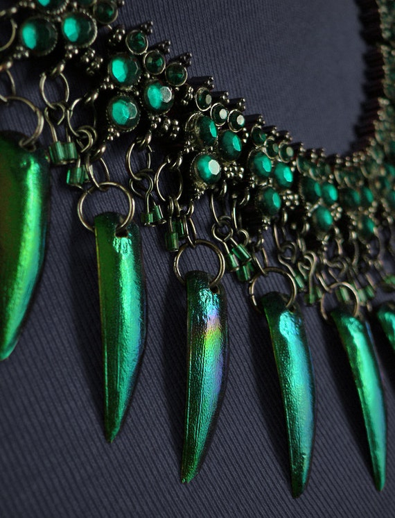 Green Jewel Beetle and Skull Necklace, green beetle wing jewellery.