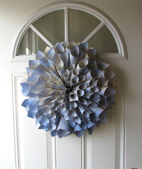 Blue Vintage Paper Dahlia Wreath