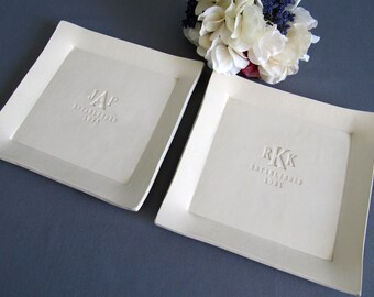 Parent Wedding Gift - Set of Personalized Platters - Gift boxed
