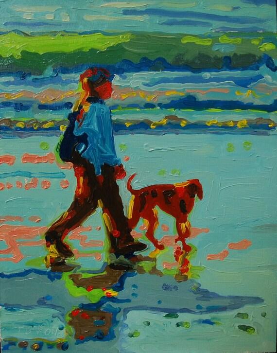 "Carmel Beach Sunset Dog Walk Oil Painting 8""x10"""