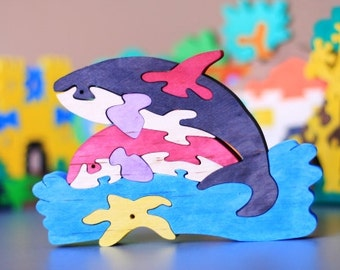 Wooden Killer Whale Puzzle, Child's Puzzle, Kid's wood toys. Wooden toys, wooden animal puzzle. Eco friendly handmade toys