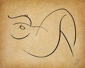 Recline, A Gestural Drawing.
