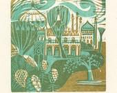 Pavilion Gardens - Woodcut Print