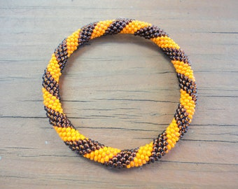 Orange and Brown Crocheted Bead Roll On Bracelet - Spiral Patterned, NB-0109