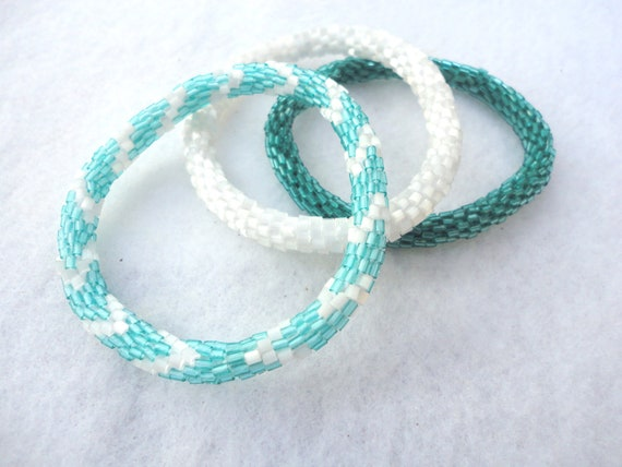 Set of Three Roll on Crocheted Bead Bracelets - Teal and White