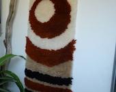 Vintage Mid Century  Modern Hook Rug Wall Hanging, Handmade, Mod Home Decor