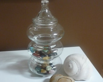 Vintage Apothecary Jar, 3 Tiered Stackable Glass Jar, Display Jars, Cottage Decor