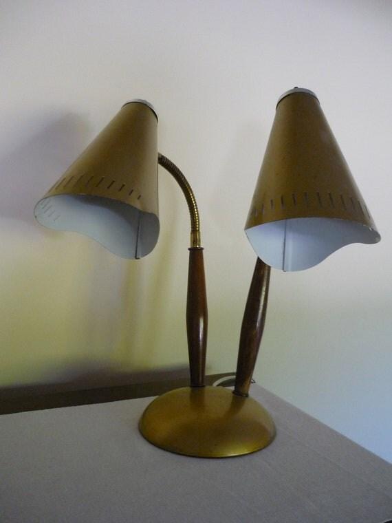 Vintage Double Gooseneck Lamp, Metal and Wood Lamp, Retro Lighting, Rustic, Cabin Decor
