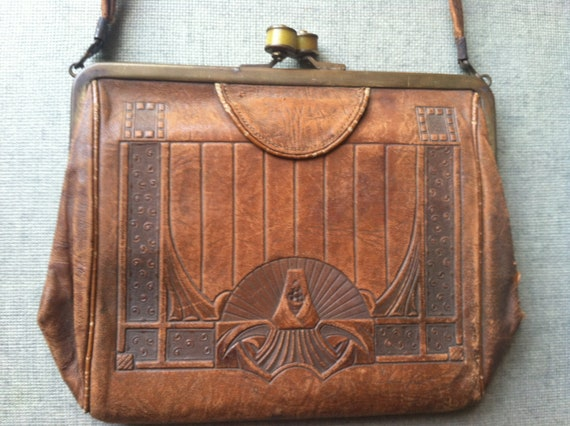RESERVED vintage art deco nouveau tooled leather handbag purse with mirror