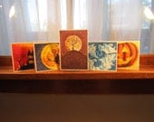 Halloween Card Set,  5 Halloween Cards, 5x7 Pointillism Cards