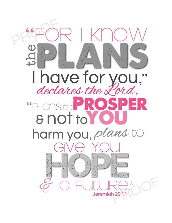 JEREMIAH 29:11 Digital File to Print - Christian Nursery Scripture Subway Art for Baby Girl Room Decor HOT PINK