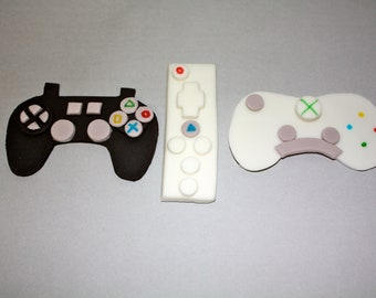 Fondant VIDEO GAME CONTROLLER  -  Cupcake, and Cookie Toppers - 1 Dozen