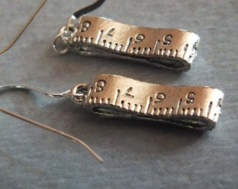 Sewing Earrings - Sterling Silver Earrings with a knitting, sewing, quilting theme -Tape Measure