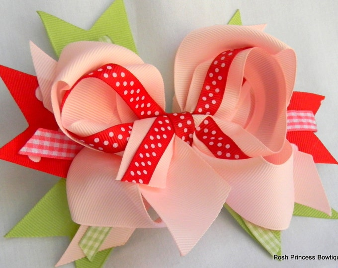 Pink Gingham Hair bows Girls hair bow Hair accessories babies, infants, toddlers, little girls