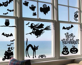 StickTak Stickers Medium Halloween Witch Party Removable Vinyl Art Wall Stickers/Decals set of 26 stickers
