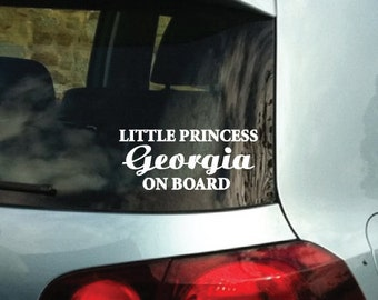 StickTak Stickers Custom Name Little PRINCESS ON BOARD Vinyl Bumper Car Decal Sticker
