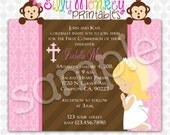 Pink 1st Holy Communion party invitation for a girl  DIY - 285