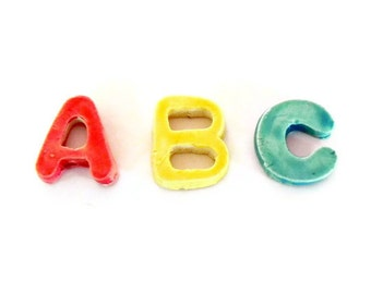 Ceramic Letters Mosaic Tiles Personalized Small Colorful Alphabet Rainbow Pottery