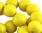 100 pc nature wood round beads 8 mm, neon yellow