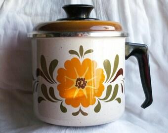 Vintage Finel Finland Era Porcelain Enamelware Pot with Lid