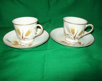 Two (2) Noritake China, Porcelain, Wheaton 5414 Pattern, Demitasse Cups and Saucers