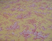 Yellow and Rosy Red Toile Fabric, Central Park, P. Kaufman Fabrics