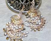 Vintage 70's Peacock Silver Filigree Earrings, INCREDIBLE