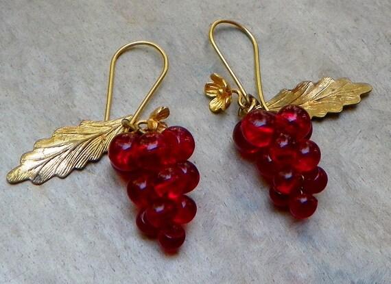 Vintage Victorian Red Grape Leaf Earrings