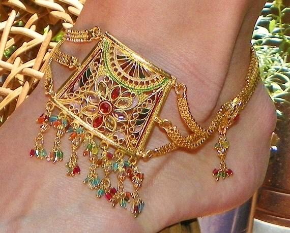 Tribal Bohemian Boho Hippie India Jeweled Anklet Arm Bracelet, Vintage 70's